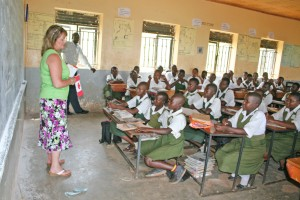 Teaching students at the International Needs school in Buikwe, Uganda.
